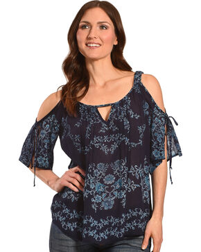 Bila Women's Navy Floral Cold Shoulder Top , Navy, hi-res