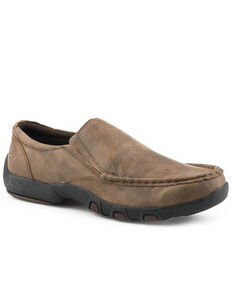 Roper Men's Faux Leather Tan Tumbled Shoes, Tan, hi-res