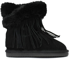 Lamo Footwear Kid's Fringe Wrap Boots - Round Toe, Black, hi-res