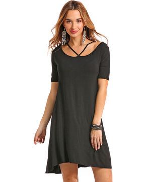 Panhandle Women's Black Criss Cross Short Sleeve Swing Dress, Black, hi-res