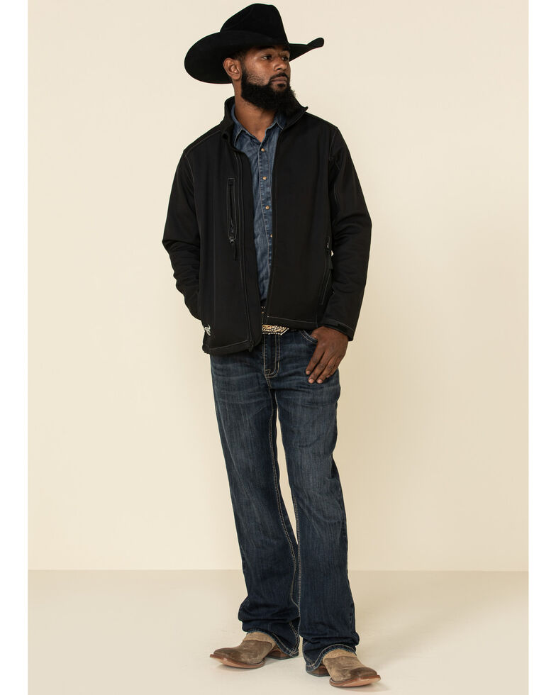 Cowboy Hardware Black Men's Logo Poly Shell Jacket , Black, hi-res
