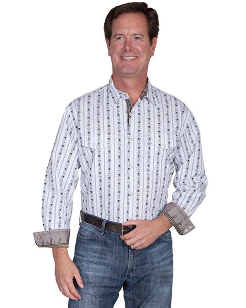 Scully Men's White Skull Stripe Print Long Sleeve Western Shirt , White, hi-res