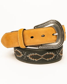 Moonshine Spirit Men's Multi Stitched Combo Western Belt , Black, hi-res