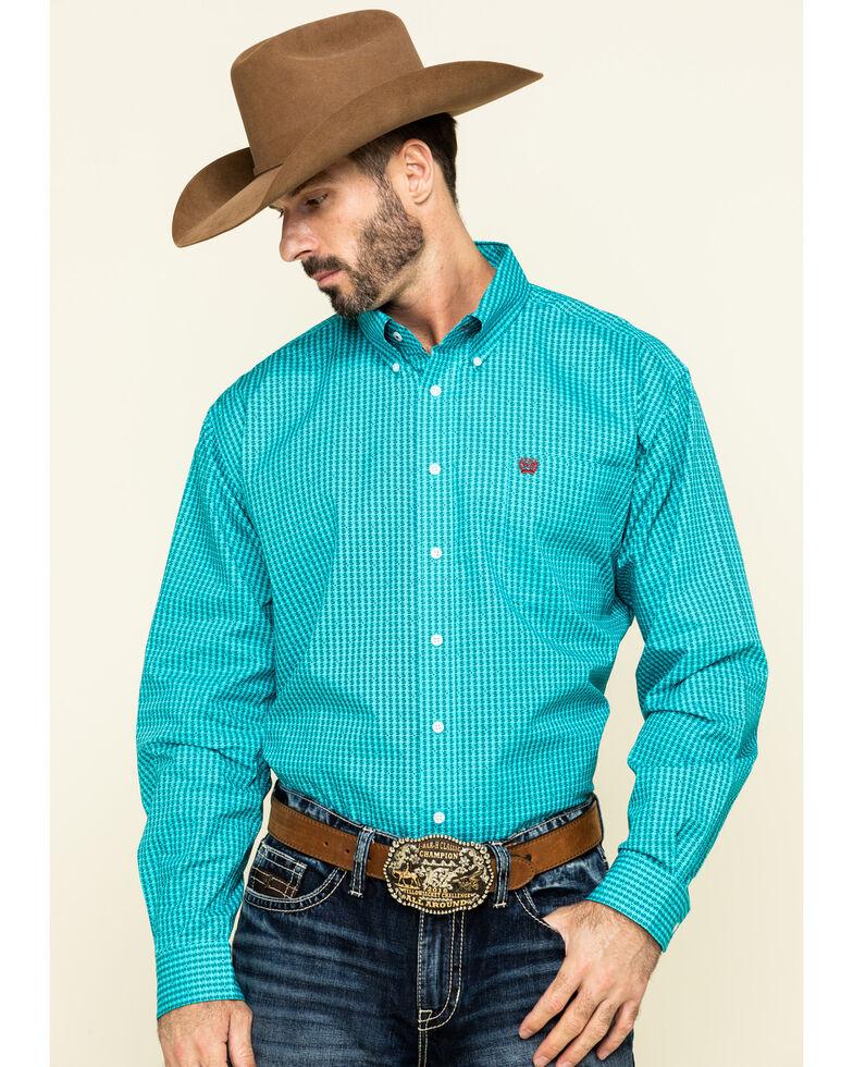 Cinch Men's Blue Dollar Sign Print Long Sleeve Western Shirt , Blue, hi-res