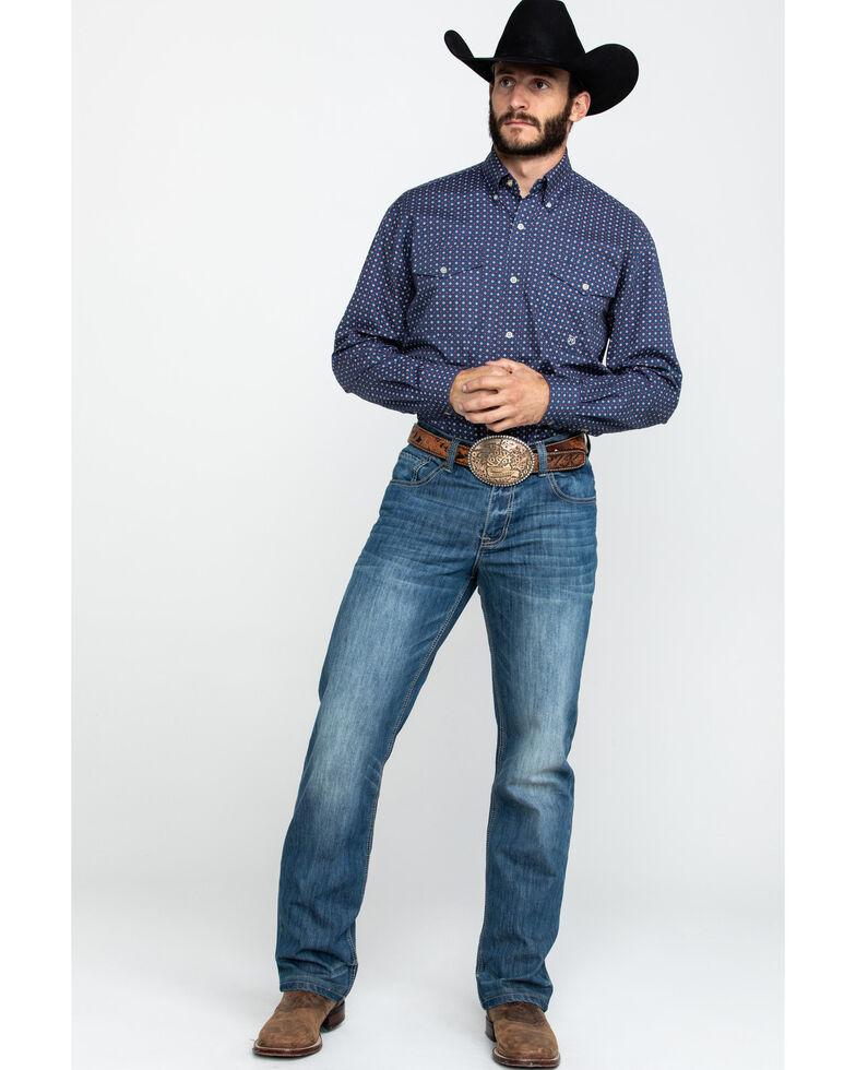 Roper Men's Navy Amarillo Foulard Geo Print Long Sleeve Western Shirt , Blue, hi-res