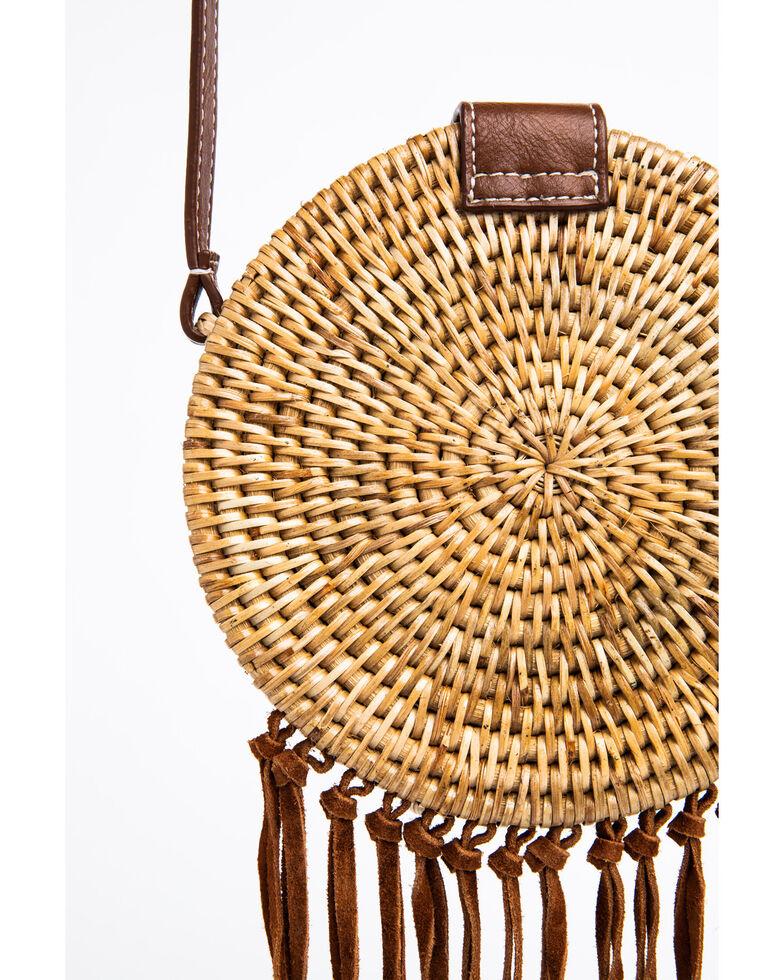 Shyanne Women's Circle Basket Weave Crossbody Bag, Brown, hi-res