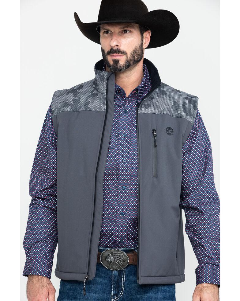 HOOey Men's Charcoal Camo Soft-Shell Vest , Charcoal, hi-res