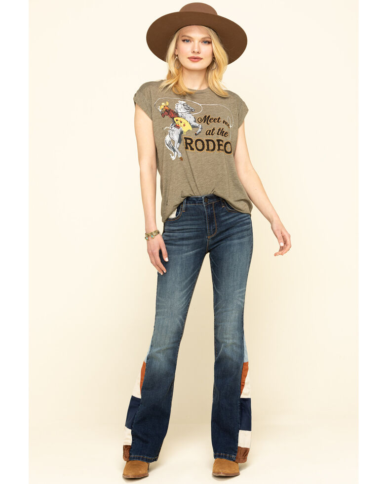 Driftwood Women's Farrah World Peace Flare Jeans , Blue, hi-res