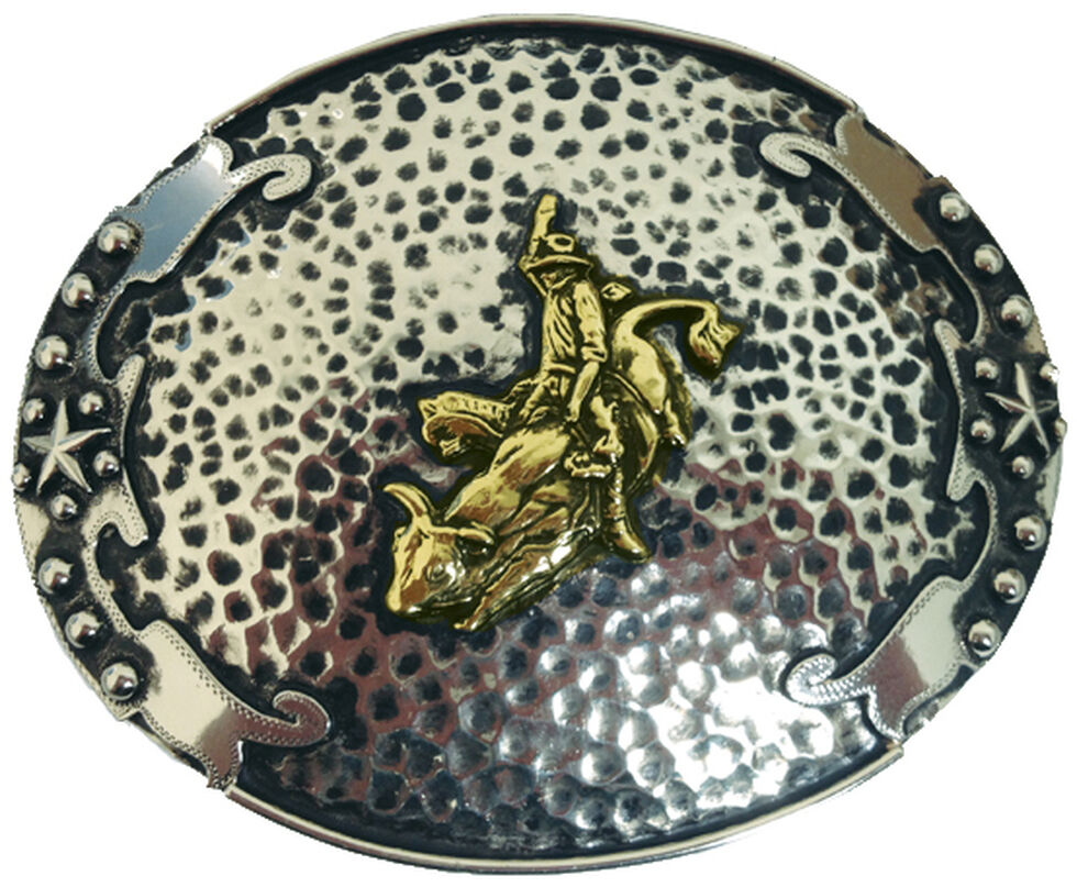 "AndWest Vintage ""Escalante"" Two-Tone Bull Rider Buckle, Two Tone, hi-res"