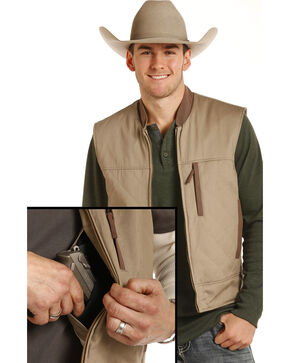 Powder River Outfitters Men's Brushed Twill Conceal And Carry Vest, Tan, hi-res
