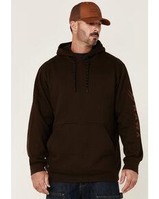 Hawx Men's Brown Primo Logo Sleeve Hooded Fleece Work Sweatshirt, Brown, hi-res