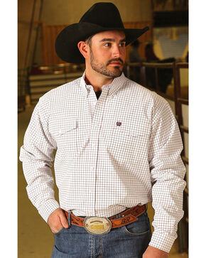 Cinch Men's White Checkered Western Shirt , White, hi-res
