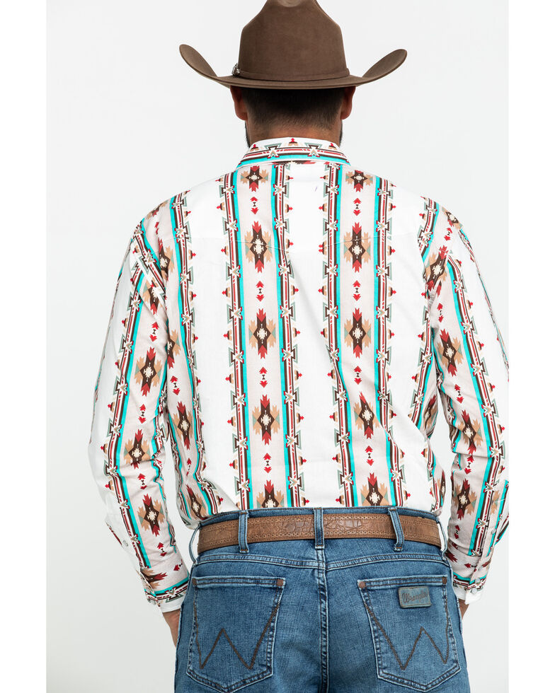 Wrangler Silver Edition Men's Ivory Aztec Checotah Striped Long Sleeve Western Shirt , Ivory, hi-res