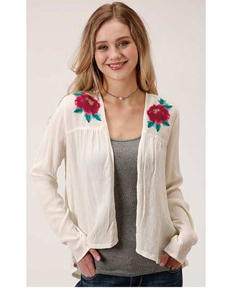 Roper Women's White Floral Embroidered Knit Cardigan , Ivory, hi-res