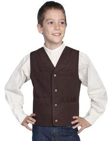 Scully Boys' Canvas Vest, Walnut, hi-res