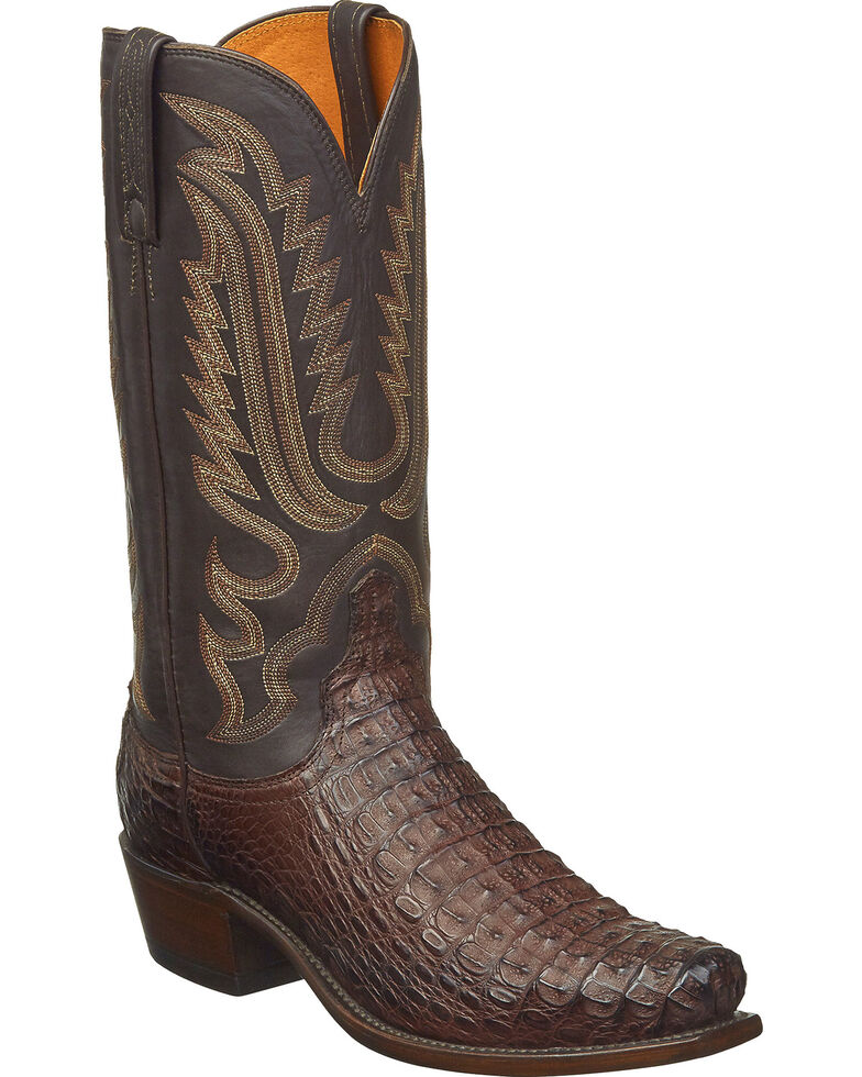 Lucchese Men's Handmade Walter Hornback Caiman Western Boots - Square Toe, Dark Brown, hi-res