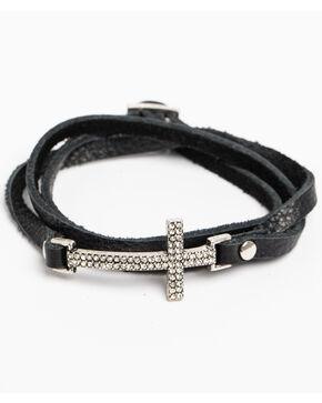 Shyanne Women's Crystal Cross Black Cross Wrap Bracelet , Silver, hi-res