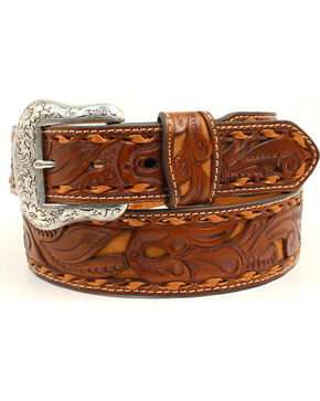 Nocona Men's Pierced Leather Laced Edge Western Belt, Tan, hi-res