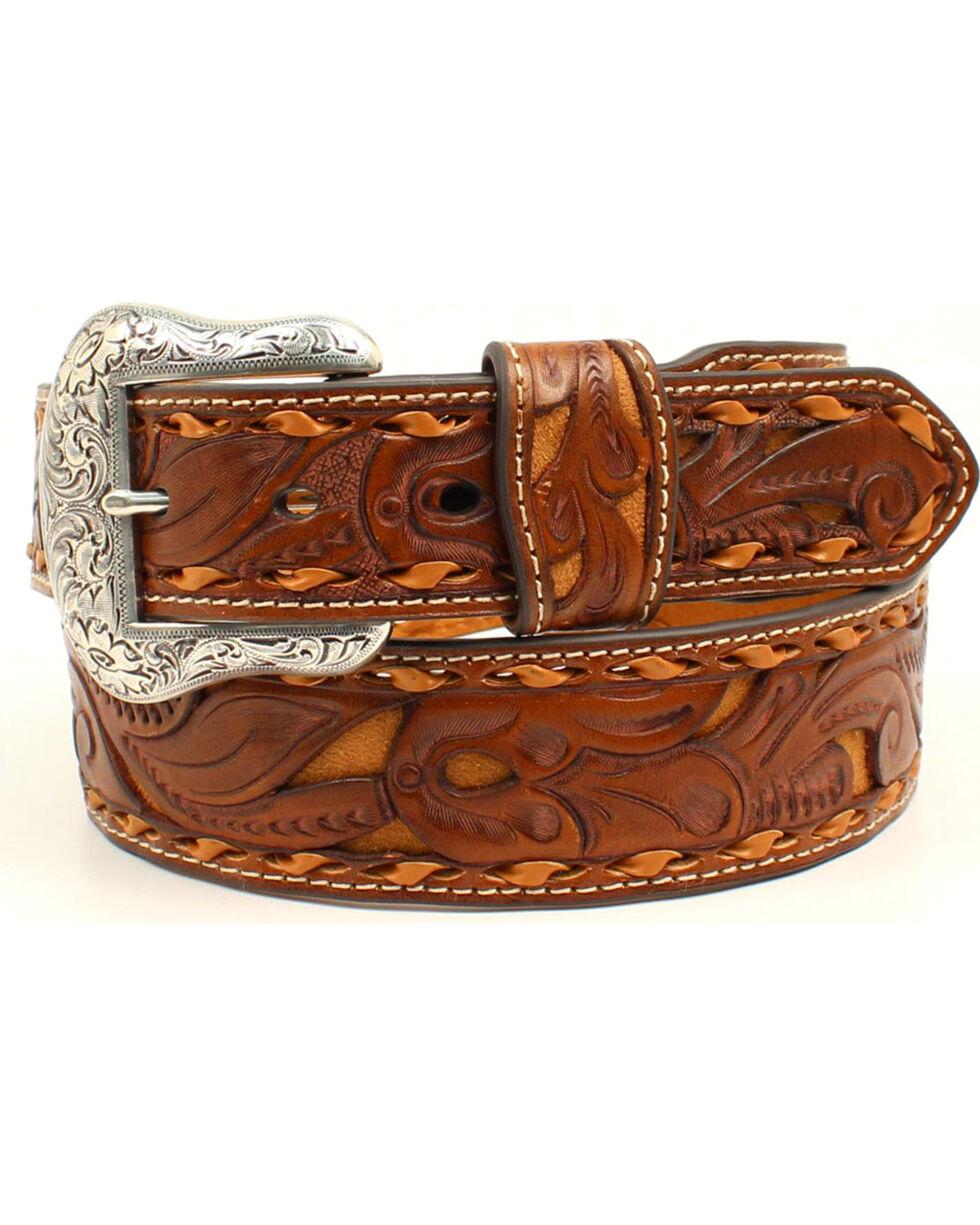 Nocona Men's Pierced Leather Laced Edge Western Belt, Tan, hi-res