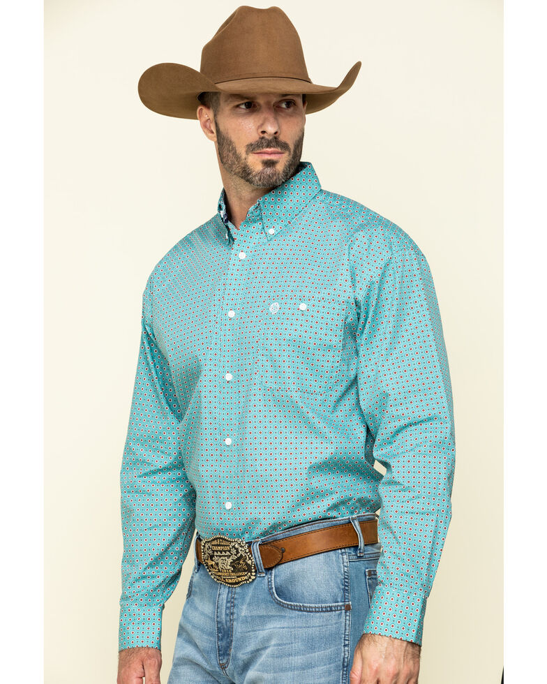 George Strait By Wrangler Men's Teal Small Geo Print Long Sleeve Western Shirt - Tall, Teal, hi-res
