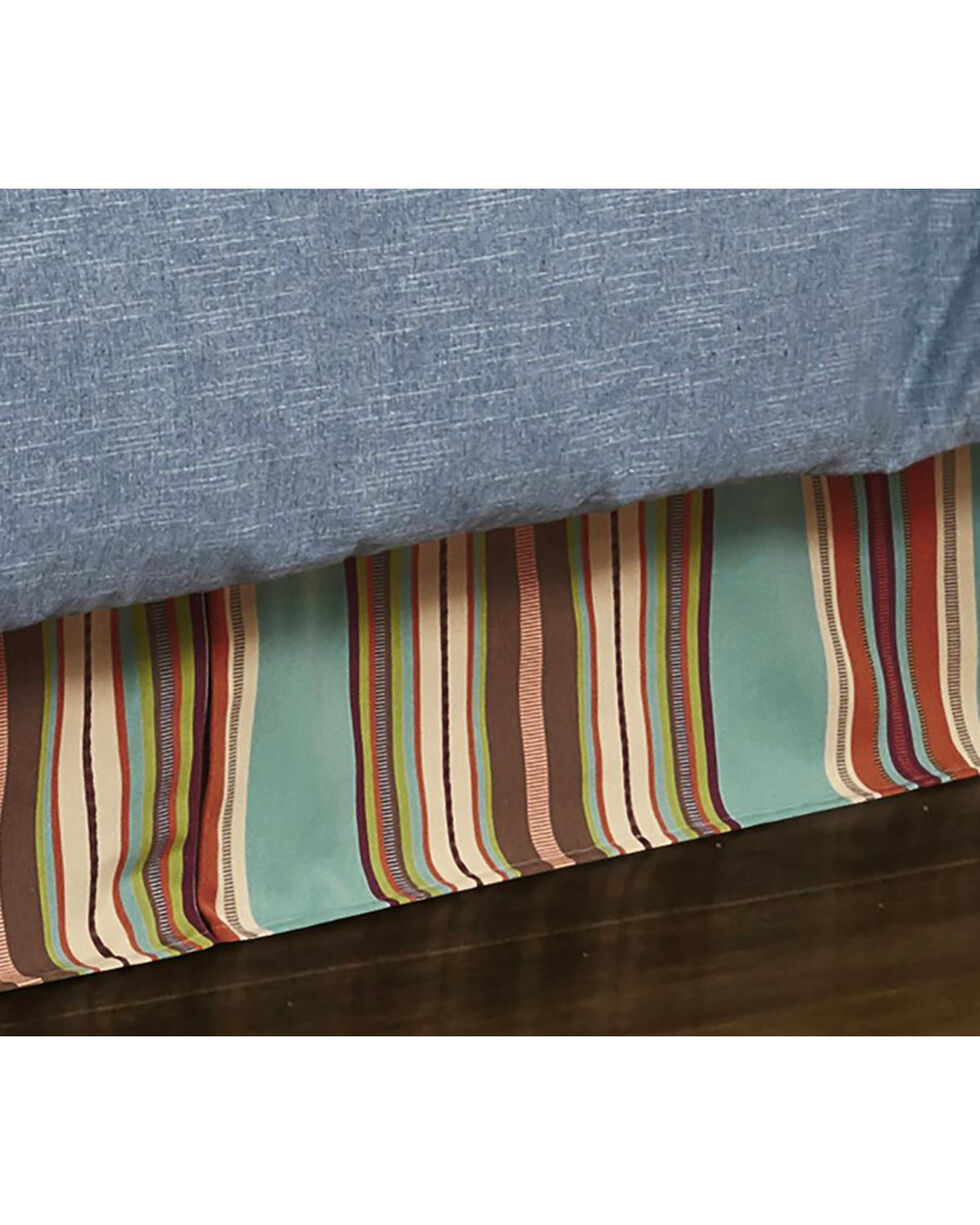 HiEnd Accents Turquoise Serape Bed Skirt - King , Turquoise, hi-res