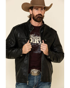 Cody James Men's Black Backwoods Distressed Faux Leather Moto Jacket - Big , Black, hi-res