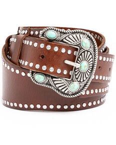 Shyanne Women's Brown Studded Wide Western Belt , Brown, hi-res