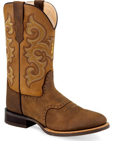 Old West Men's Chocolate Fancy Stitch Leather Boots - Round Toe , Chocolate, hi-res