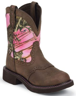 Justin Gypsy Women's Gemma Pink Camo Cowgirl Boots - Round Toe, Aged Bark, hi-res