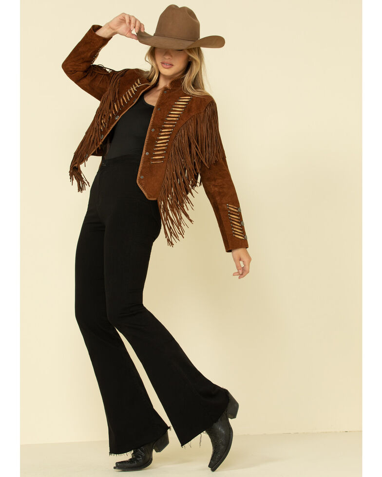 Cripple Creek Women's Brown Beaded & Hand Laced Bone Piped Suede Jacket , Brown, hi-res