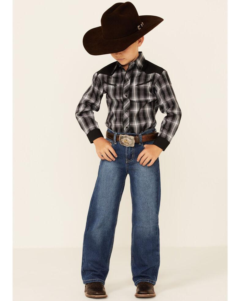 Roper Boys' Black Plaid Retro Contrast Fancy Yoke Long Sleeve Snap Western Shirt , Black, hi-res