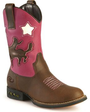 Roper Girls' Light Up Pink Bronco Cowgirl Boots, Tan, hi-res