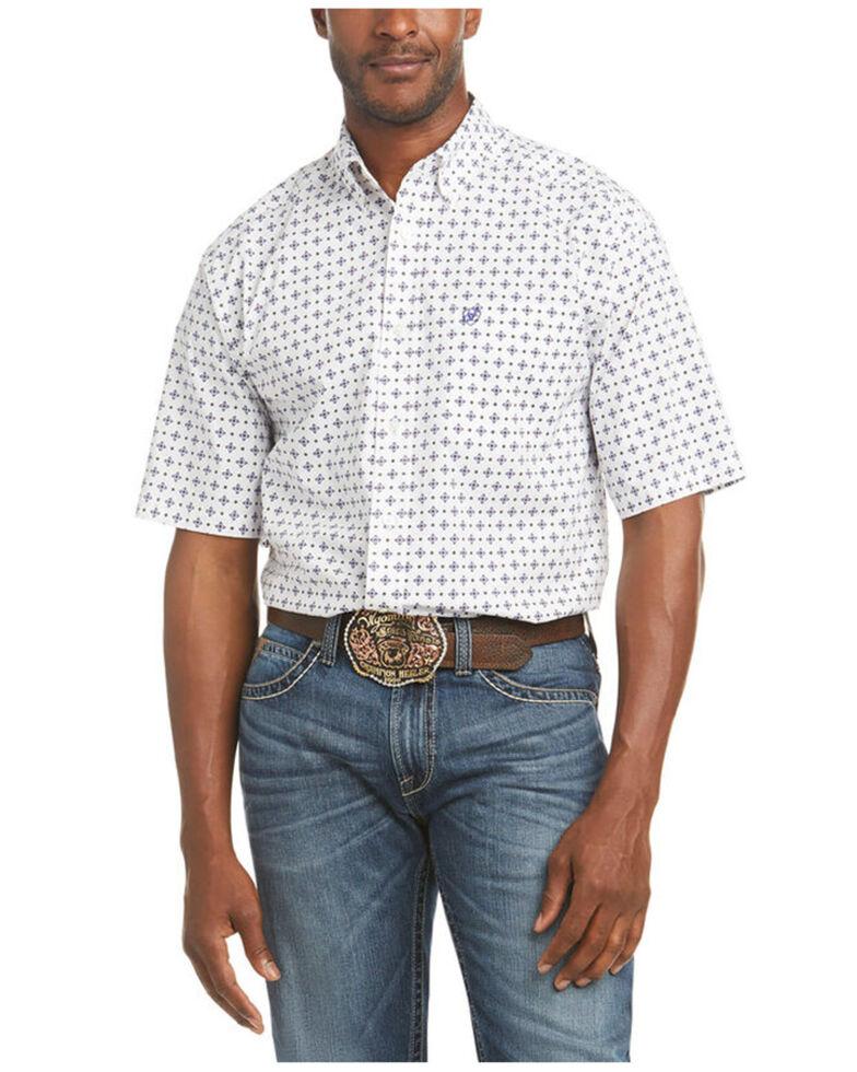 Ariat Men's Perseus Stretch Geo Print Short Sleeve Button-Down Western Shirt , White, hi-res