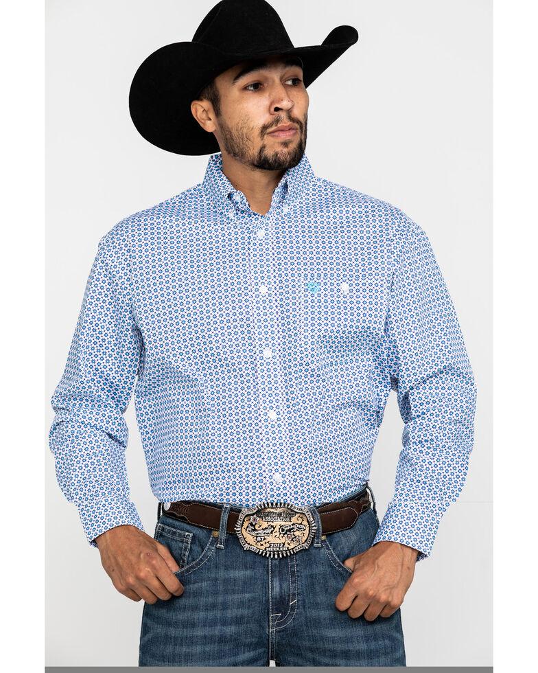 George Strait by Wrangler Men's Light Turquoise Geo Print Long Sleeve Western Shirt - Big, Turquoise, hi-res