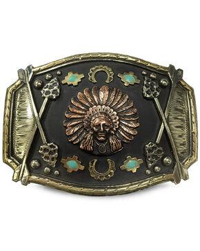 Augus Silversmiths Copper Indian Headdress Belt Buckle , Bronze, hi-res