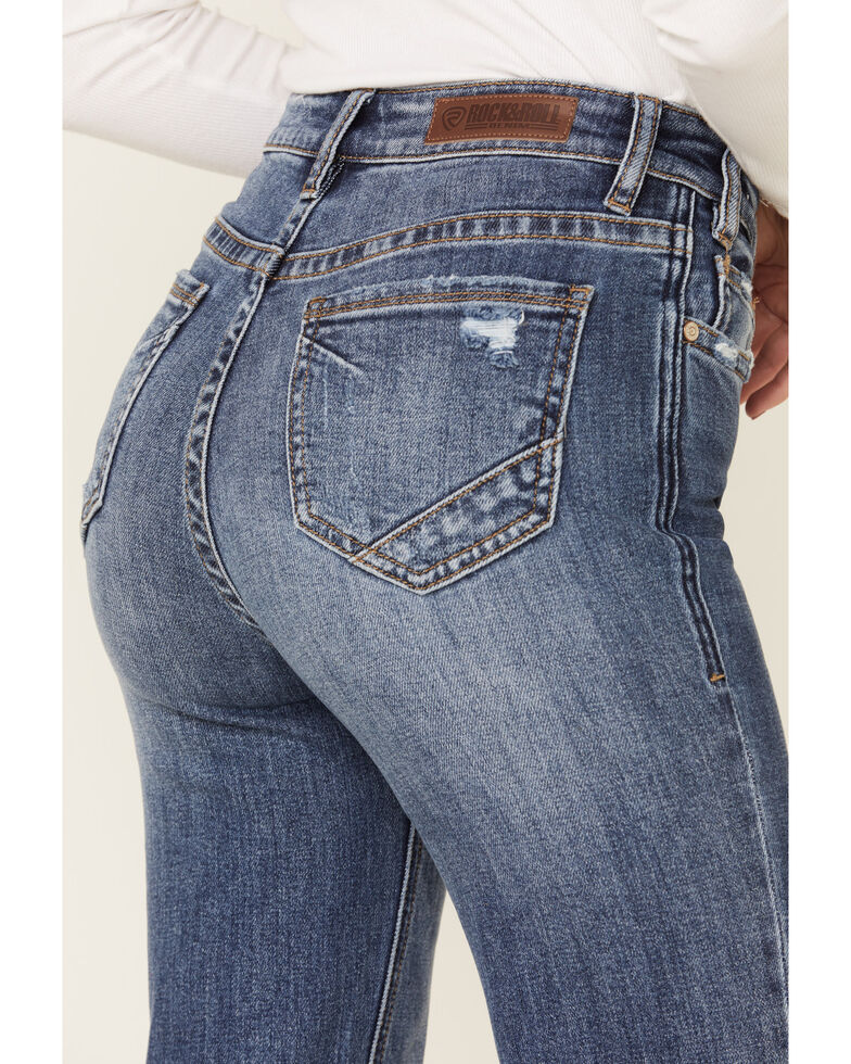 Rock & Roll Denim Women's Distressed High Rise Trouser Jeans, Blue, hi-res