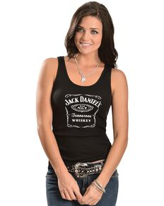 Jack Daniel's Black Racerback Tank Top, Black, hi-res