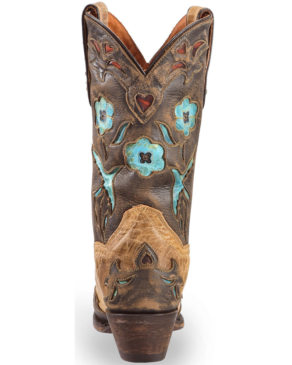 Dan Post Tan Vintage Bluebird Cowgirl Boots - Snip Toe , Tan, hi-res