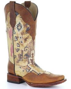 Circle G Women's Aztec Print Western Boots - Square Toe, Tan, hi-res