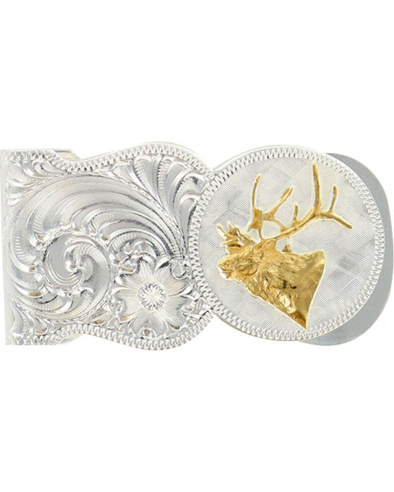 Montana Silversmiths Elk Head Scalloped Money Clip, Silver, hi-res