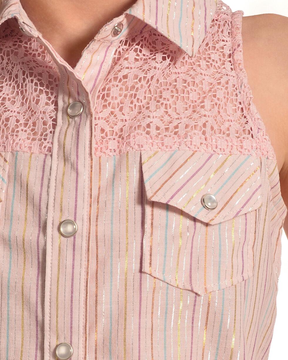 Shyanne Girls' Shiny Striped Crochet Sleeveless Top, Pink, hi-res