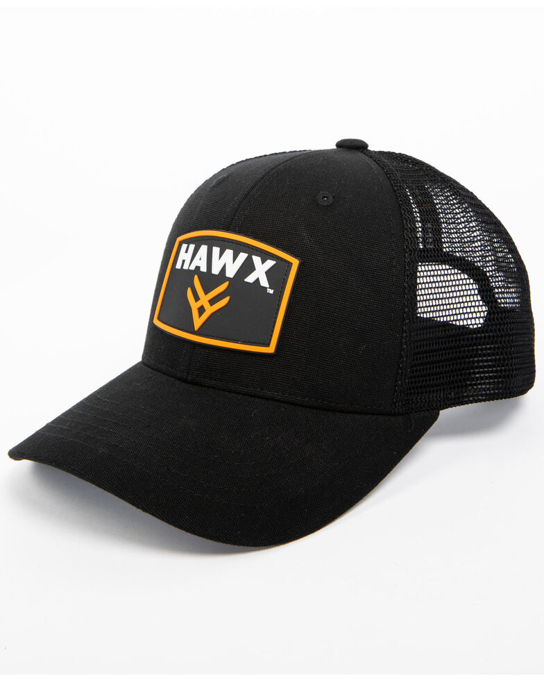 Hawx® Men's Black Patch Logo Trucker Cap, Black, hi-res