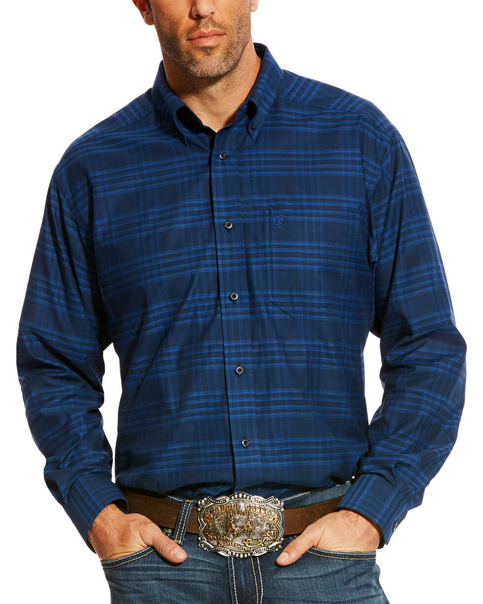 Ariat Men's Navy Abner Classic Fit Shirt , Navy, hi-res