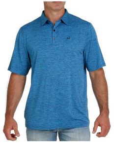 Cinch Men's Solid Heather Blue Short Sleeve Polo Shirt, Light Blue, hi-res