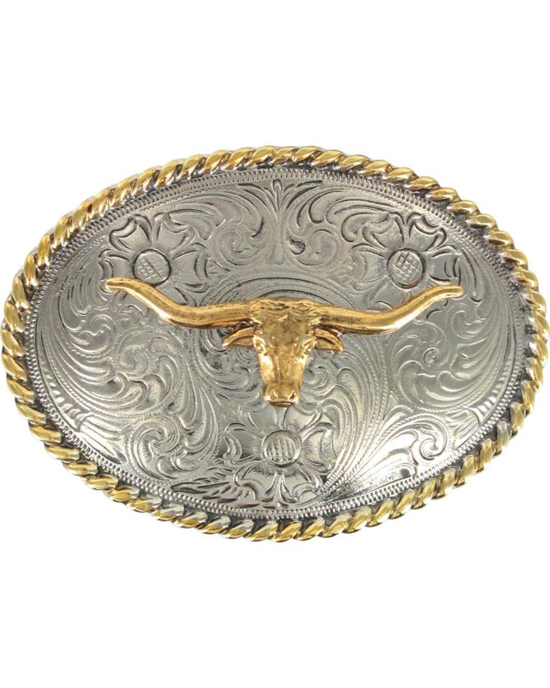 Cody James® Boys' Long Horn Oval Belt Buckle, Silver, hi-res