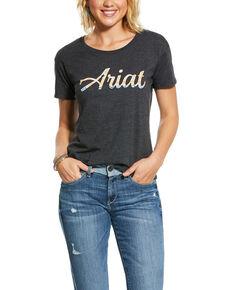 Ariat Women's Navjo Fill Logo Graphic Tee, Charcoal, hi-res