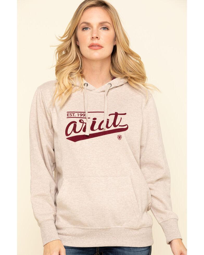 Ariat Women's Oatmeal Heather R.E.A.L. Varsity Logo Sweatshirt, Oatmeal, hi-res