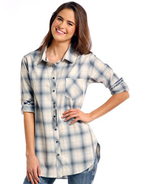 Rough Stock by Panhandle Women's Thurston Antique Plaid Boyfriend Tunic, Light Grey, hi-res