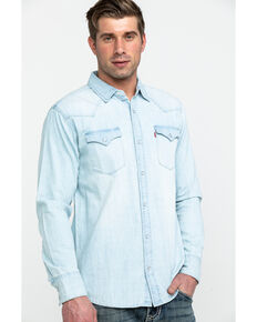Levi's Men's Washed Blue Denim Long Sleeve Western Shirt, Blue, hi-res