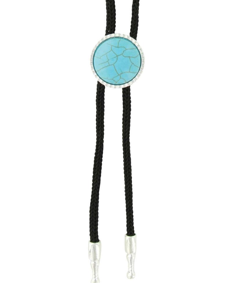 Montana Silversmiths Women's Attitude Turquoise Blue Concho Bolo Tie, Silver, hi-res